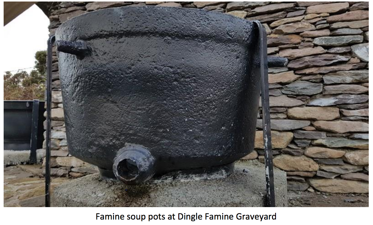 Famine soup pots at Dingle Famine Graveyard